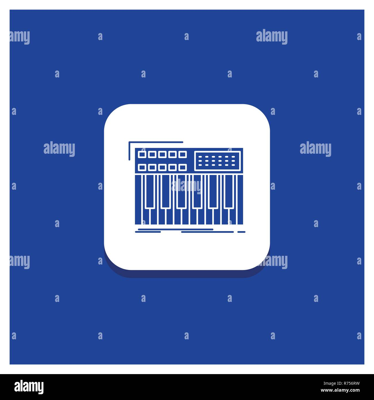 Blue Round Button for synth, keyboard, midi, synthesiser, synthesizer Glyph icon - Stock Image