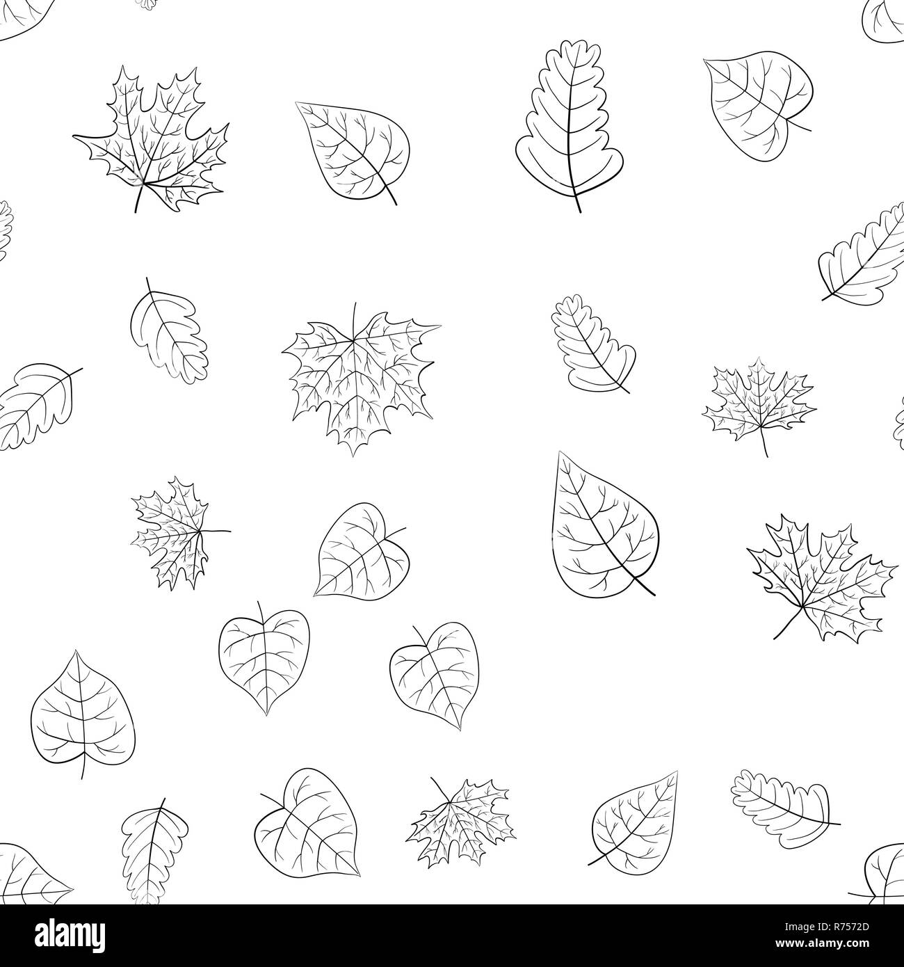 Abstract Vector Doodle Autumn Leaves Seamless Pattern Stock Photo Alamy