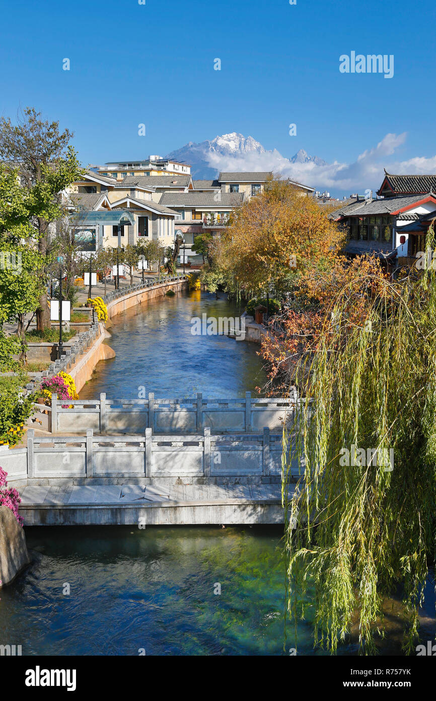 Creek at Lijiang old town , world Heritage site , Yunnan, China, Asia - Stock Image