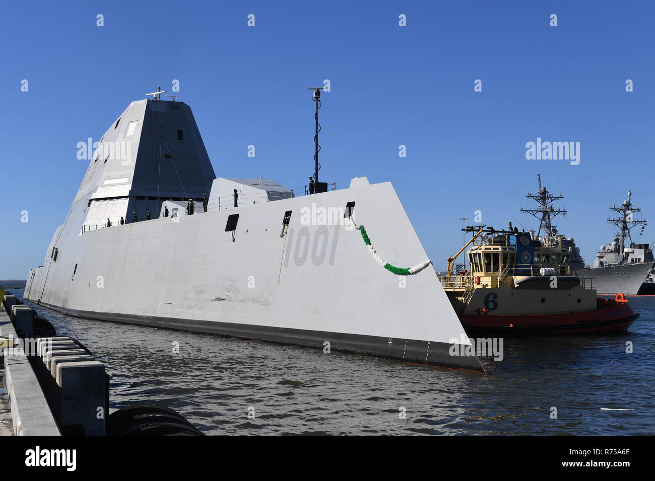The Pre-Commissioning Unit Michael Monsoor docks at Naval Base San Diego December 7, 2018 in San Diego, California. The USS Michael Monsoor is the second ship in the Zumwalt-class of guided-missile destroyers and will undergo a combat test period before being commissioned into the Navy on January 26, 2019. Stock Photo