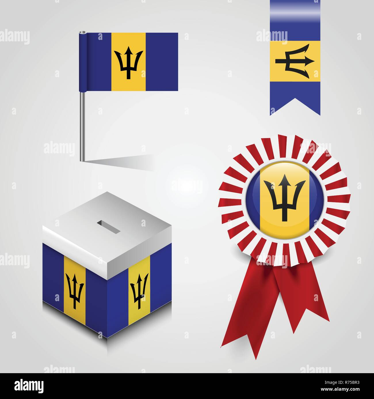Barbados Country Flag place on Vote Box, Ribbon Badge Banner and map Pin - Stock Vector