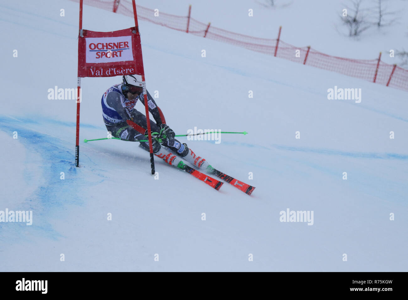 Val d'Isere, France, 08th December 2018. FIS ski world cup. Henrik Kristoffersen 4th after the 1st run finished 2nd in Val d'Isere Credit: Fabrizio Malisan/Alamy Live News - Stock Image