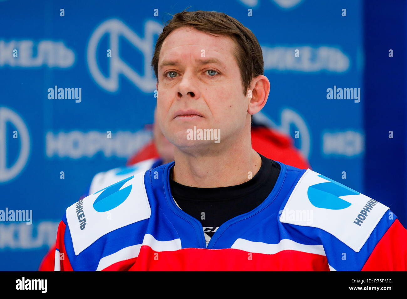 Russia. 08th Dec, 2018. MOSCOW REGION, RUSSIA - DECEMBER 8, 2018: World Legends Hockey League President Pavel Bure in action during the 5th Legends Cup ice hockey tournament at the Luzhki Club ice rink; held for retired senior ice hockey players, this year's tournament marks the 100th birth anniversary of Soviet ice hockey player and coach Anatoly Tarasov (1918-1995). Mikhail Japaridze/TASS Credit: ITAR-TASS News Agency/Alamy Live News - Stock Image