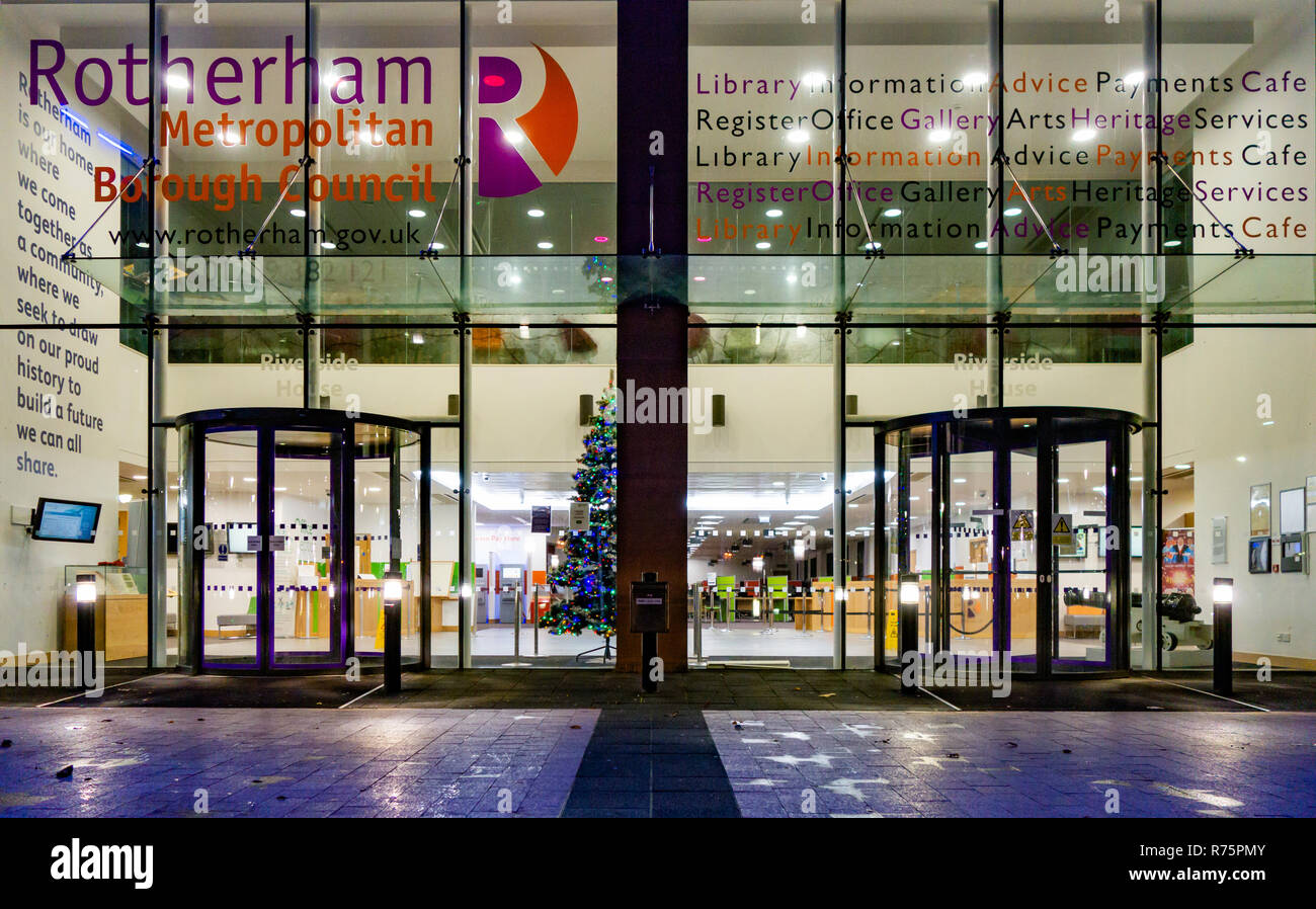 Office Foyer at Rotherham Metropolitan Borough Council's Government office at Riverside House, Main St, Rotherham England, photographed at night - Stock Image
