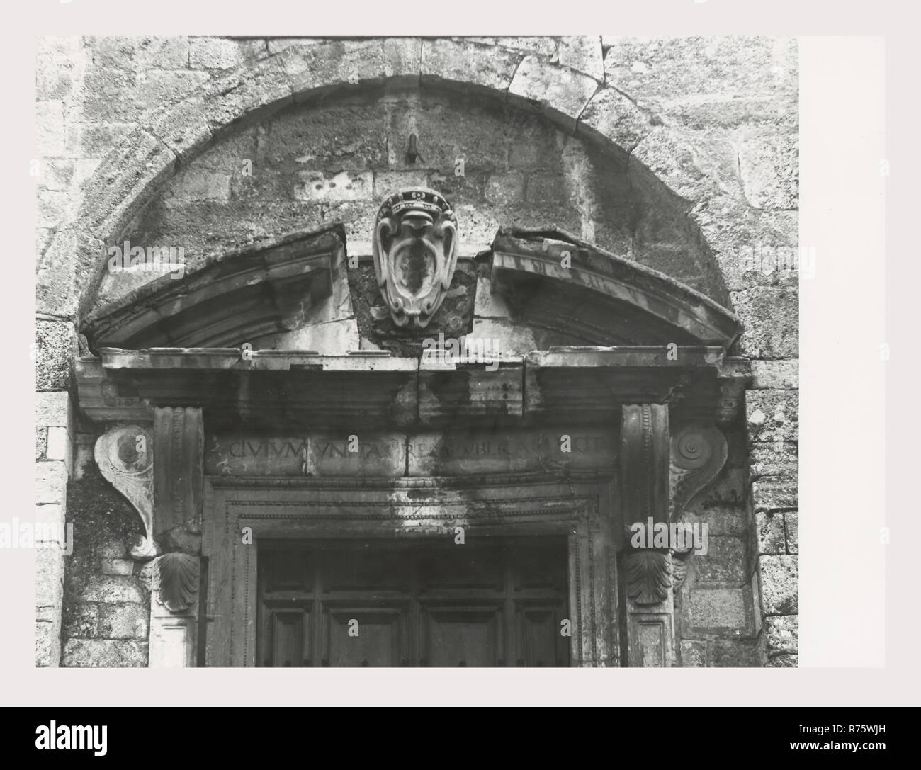 Umbria Perugia Norcia Palazzo Comunale, this is my Italy, the italian country of visual history, Six exterior views remaining views are of the art objects housed in the structure. Stock Photo