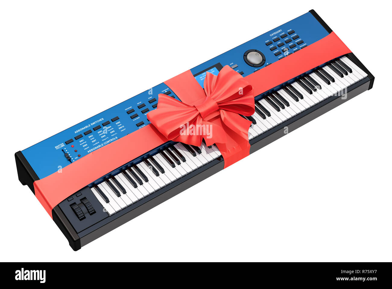 Synthesizer with bow and ribbon, gift concept. 3D rendering isolated on white background - Stock Image