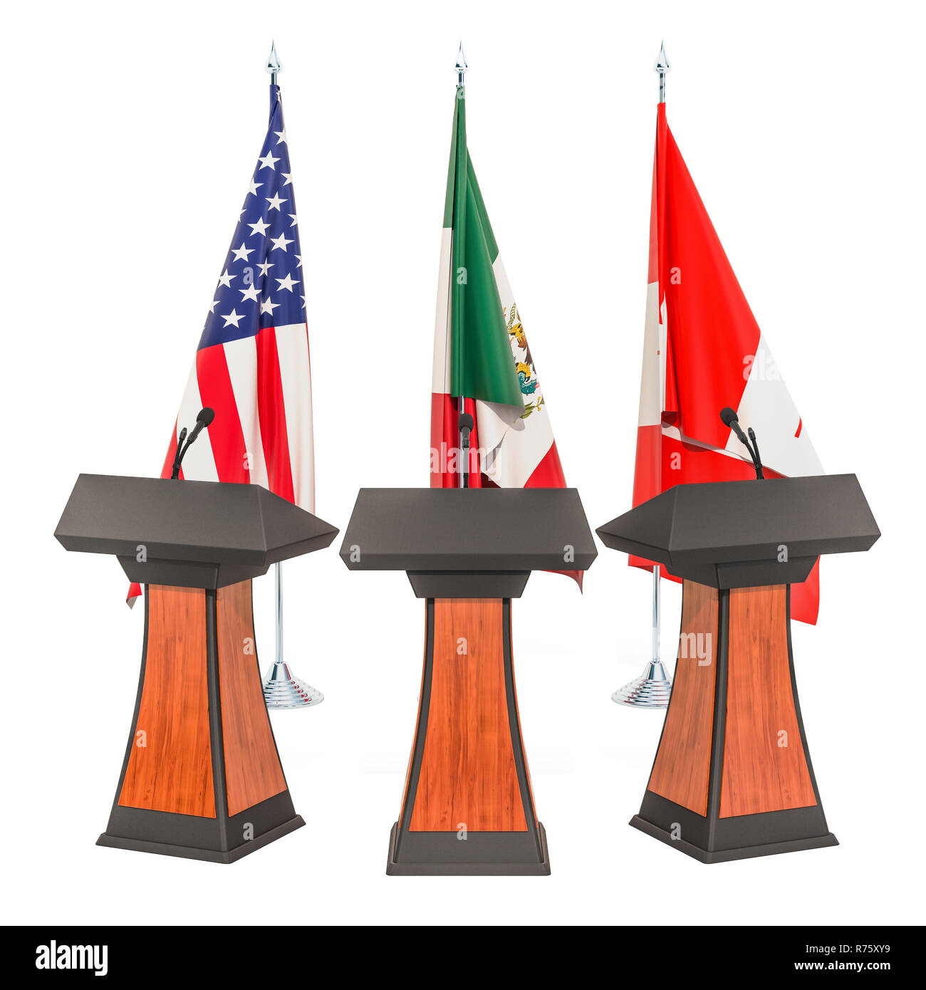 United States - Mexico - Canada Agreement, USMCA or NAFTA meeting concept. 3D rendering Stock Photo