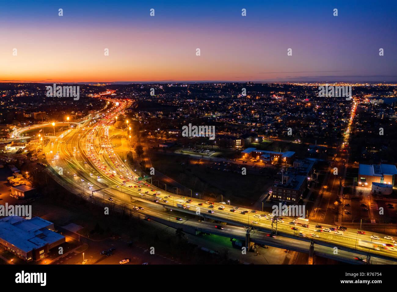 Aerial view of Staten Island Expressway - Stock Image
