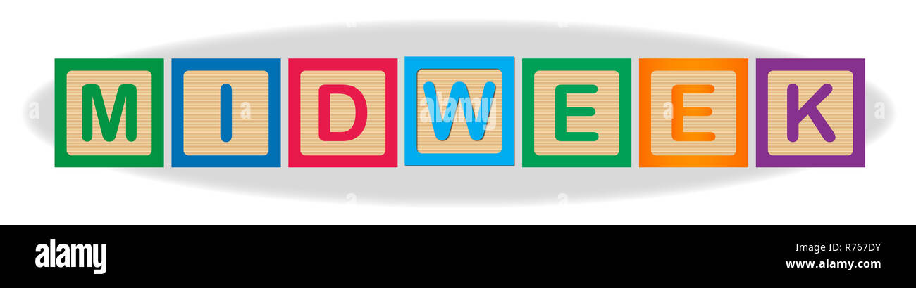 Midweek In Wooden Block Letters - Stock Image
