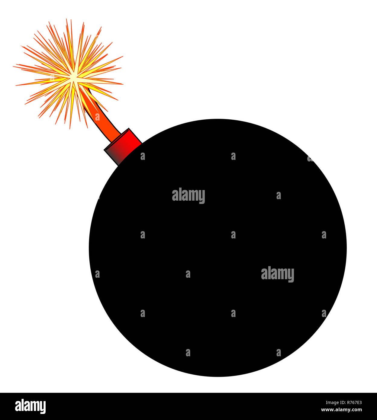 b36e1208cf7fb Old Black Cartoon style Bomb With Lit Fuse - Stock Image