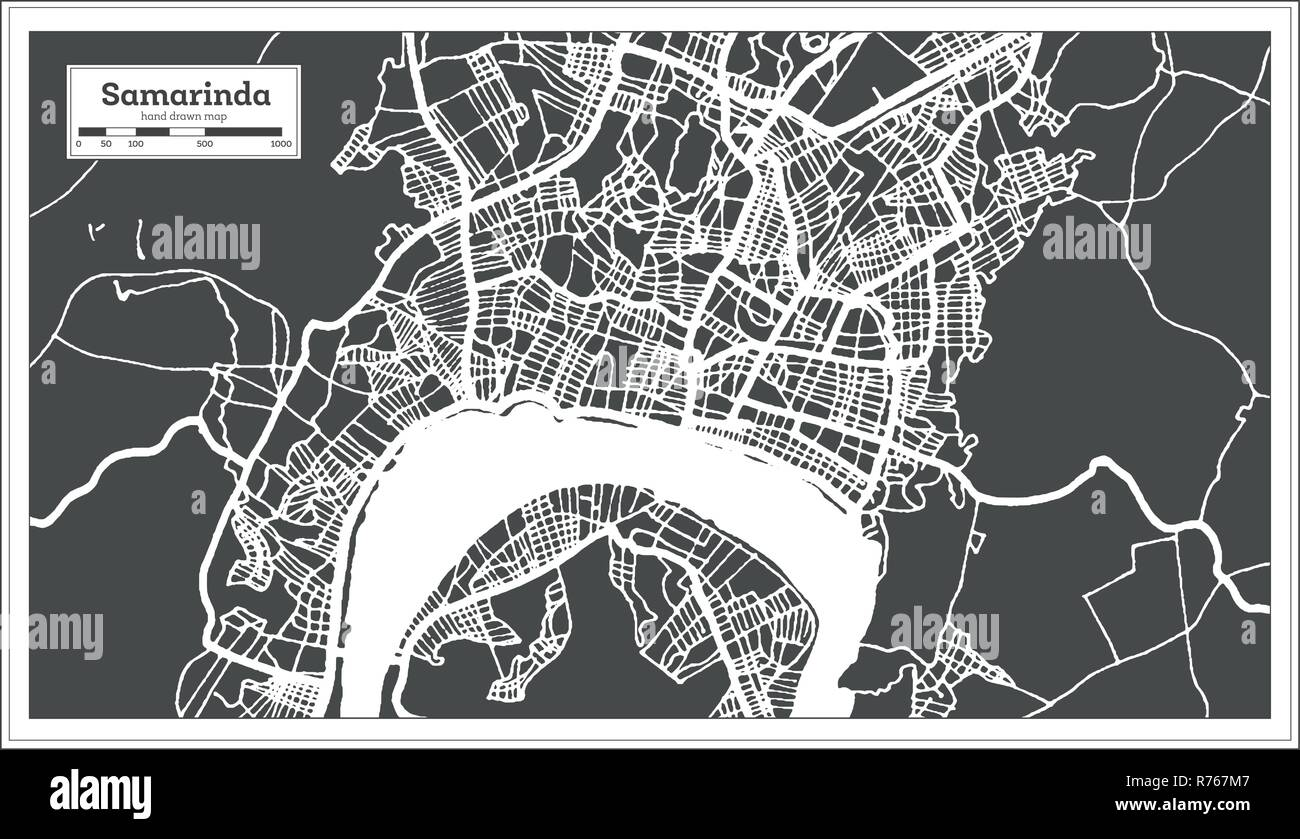 Samarinda Indonesia City Map in Retro Style. Outline Map. Vector ...