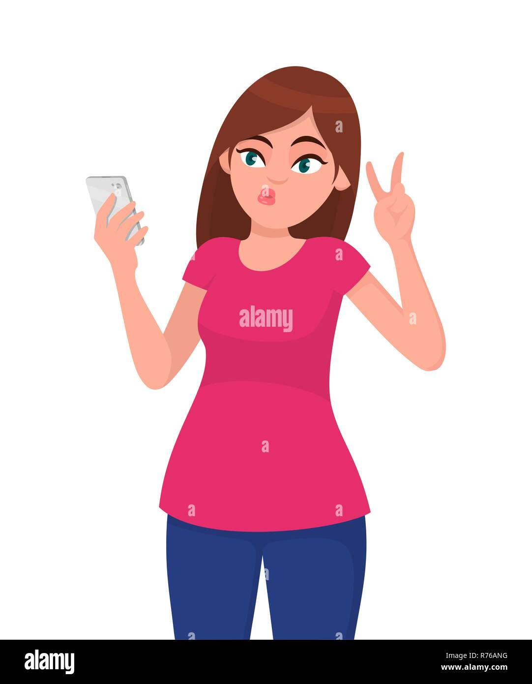 Beautiful young woman taking selfie with smartphone and gesturing victory, V or peace sign. Modern lifestyle,  human emotions and body language concep - Stock Vector