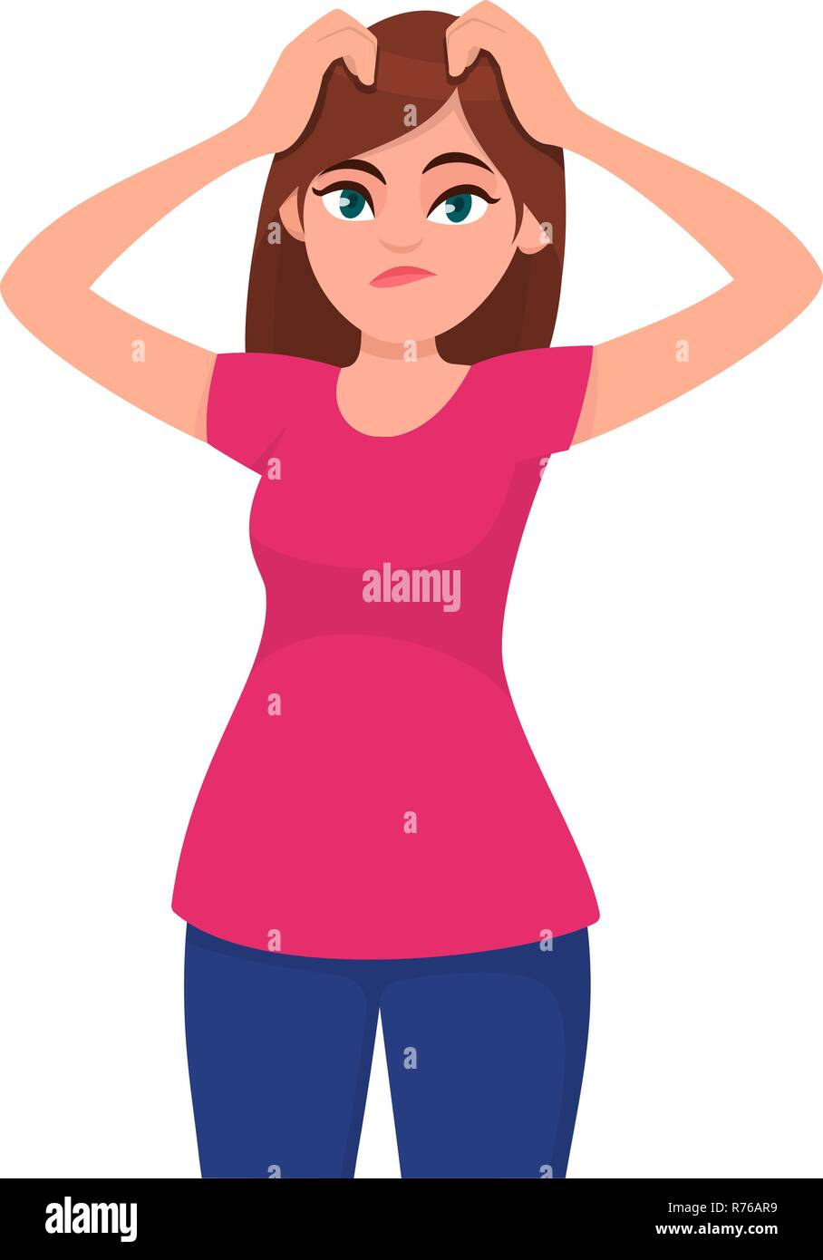 Confused and doubtful young woman scratching her head. Oops, question, doubt and decision making concept illustration in vector cartoon flat style. Hu - Stock Image