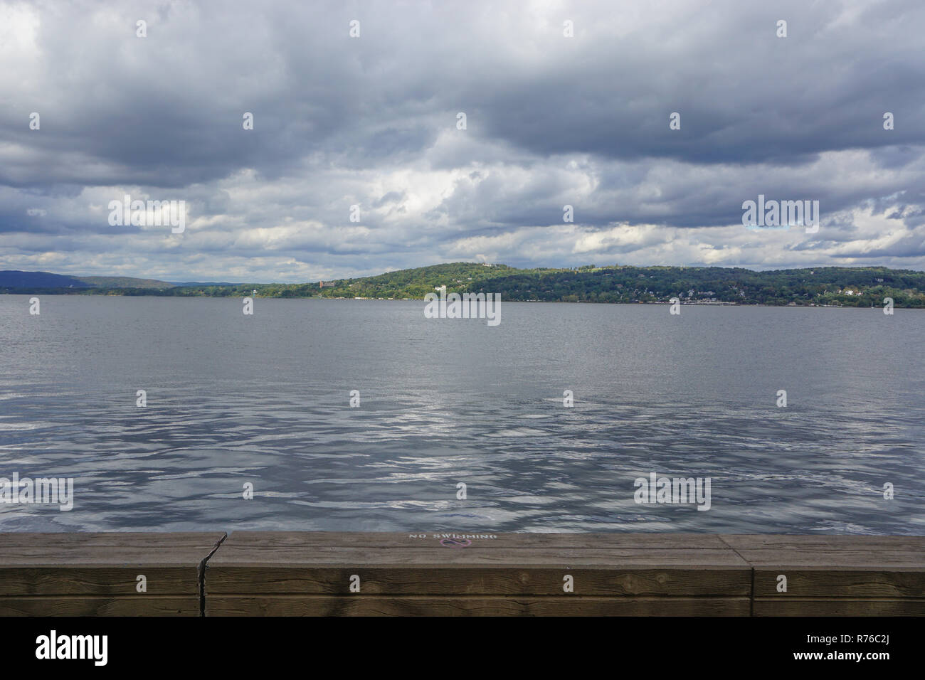 Croton-On-Hudson, New York, USA: A sign  in Croton Point Park prohibits swimming in  the Hudson River. - Stock Image