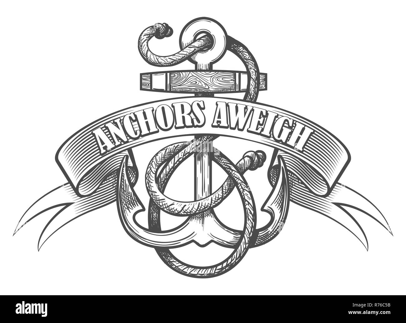 Nautical Anchor In Ropes And Ribbon With Wording Anchors Aweigh