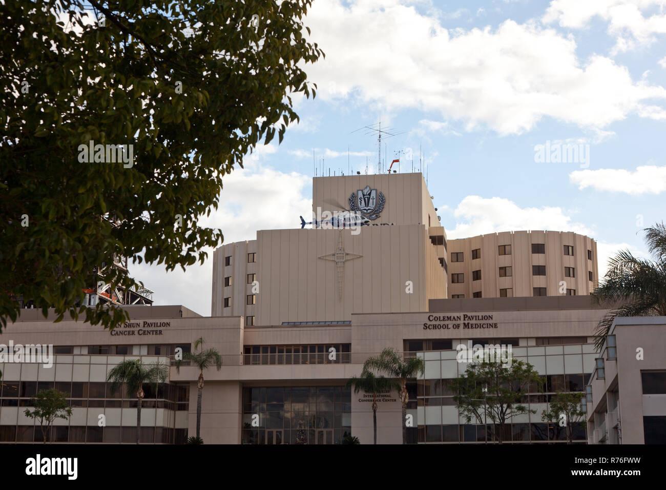 Helicopter at Loma Linda University Hospital in Loma Linda, CA, USA - Stock Image