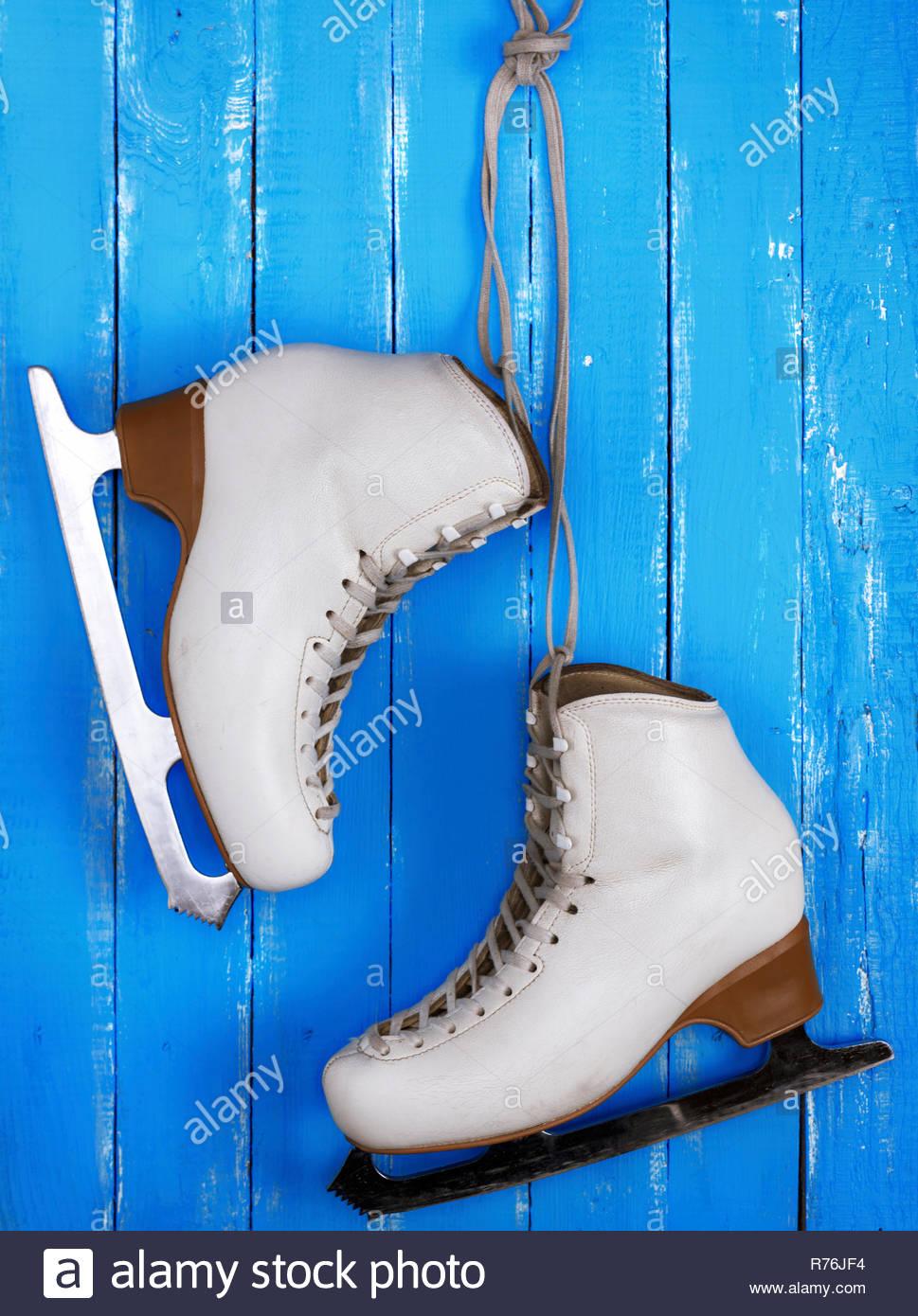 5fe08001c0ba9 pair of white leather female skates for figure skating Stock Photo ...