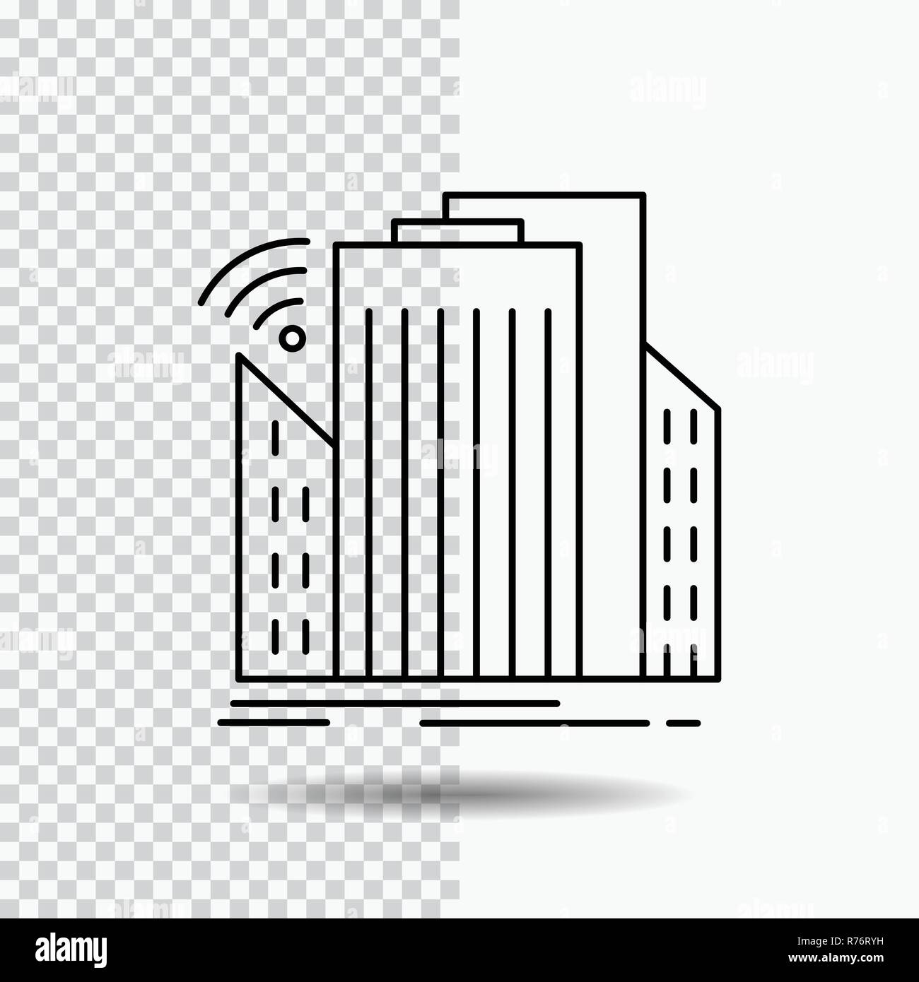 Buildings, city, sensor, smart, urban Line Icon on Transparent Background. Black Icon Vector Illustration - Stock Vector