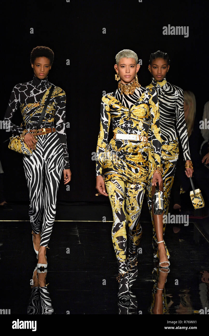 NEW YORK, NY - DECEMBER 02: Model Dilone walks the runway at the Versace Pre-Fall 2019 Collection at The American Stock Exchange on December 02, 2018  - Stock Image