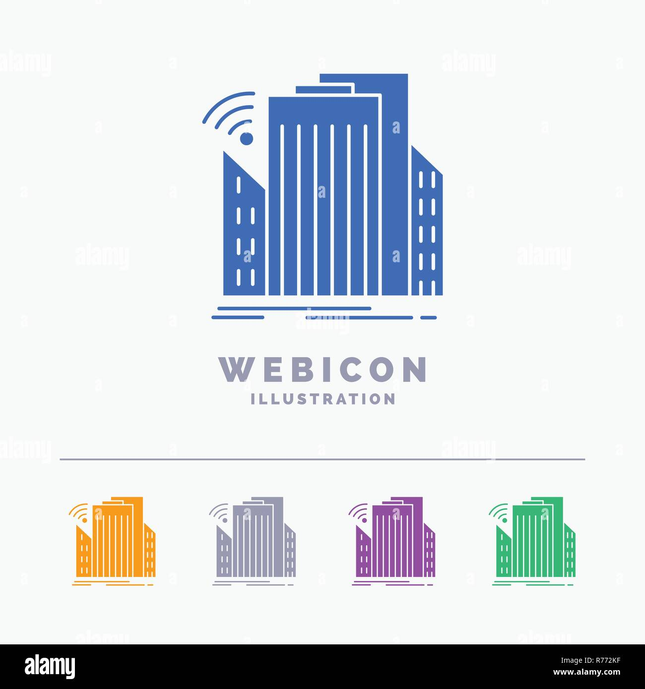 Buildings, city, sensor, smart, urban 5 Color Glyph Web Icon Template isolated on white. Vector illustration - Stock Vector