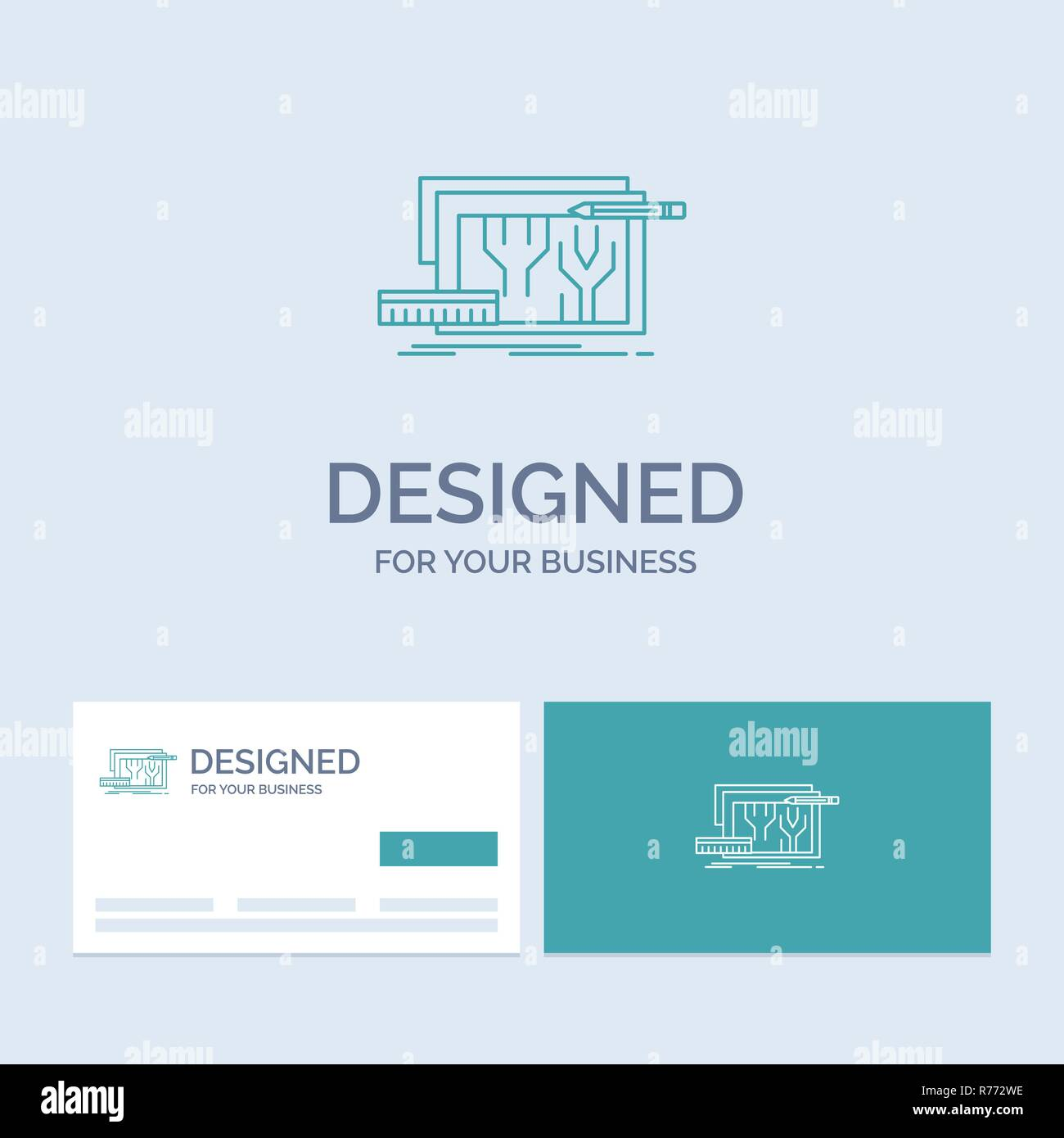 Architecture, blueprint, circuit, design, engineering Business Logo Line Icon Symbol for your business. Turquoise Business Cards with Brand logo templ - Stock Image