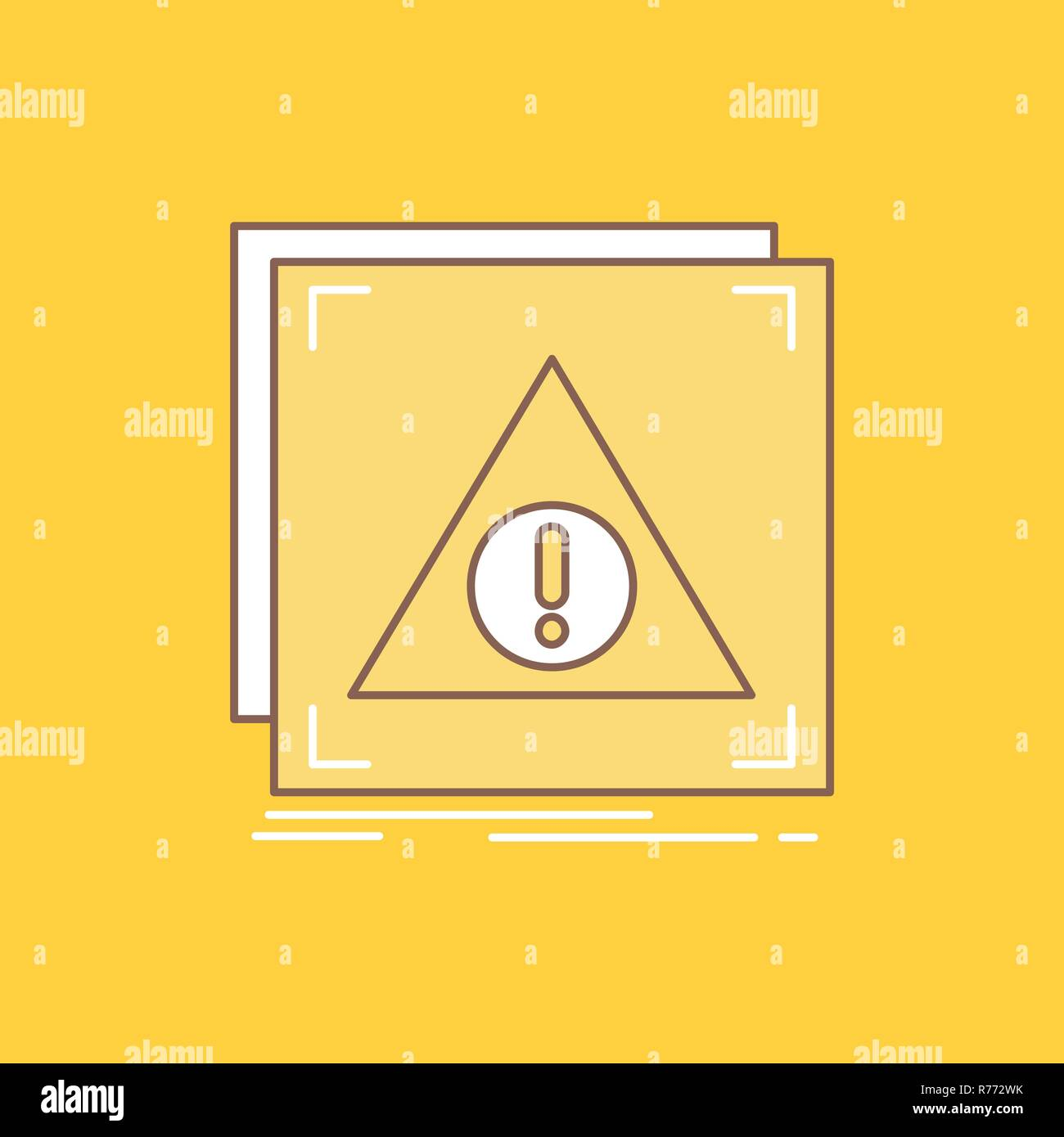 Error, Application, Denied, server, alert Flat Line Filled Icon. Beautiful Logo button over yellow background for UI and UX, website or mobile applica - Stock Image