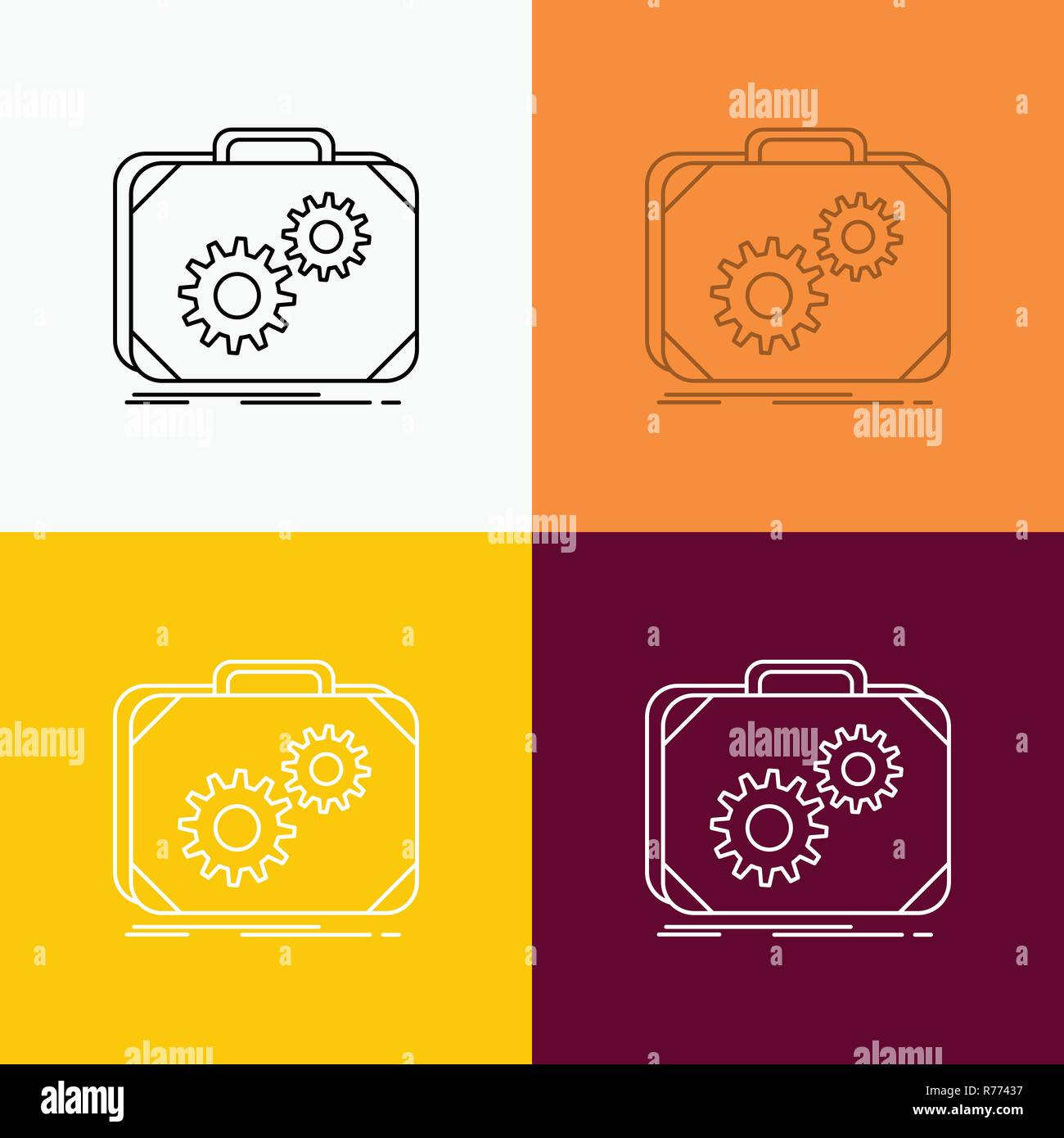 Briefcase, case, production, progress, work Icon Over Various Background. Line style design, designed for web and app. Eps 10 vector illustration - Stock Vector