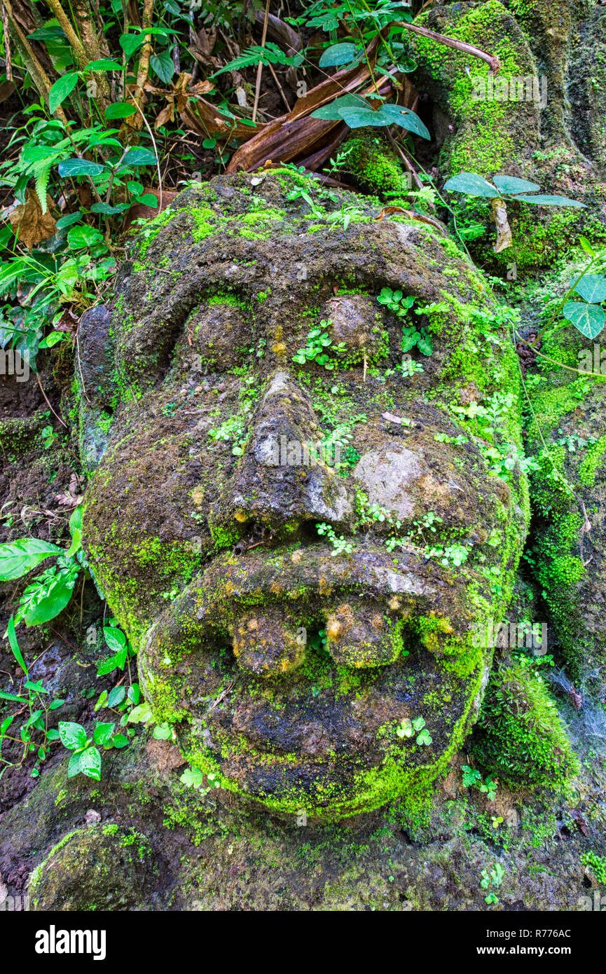 Moss Covered Sculpture In The Forest Goa Gajah Elephant