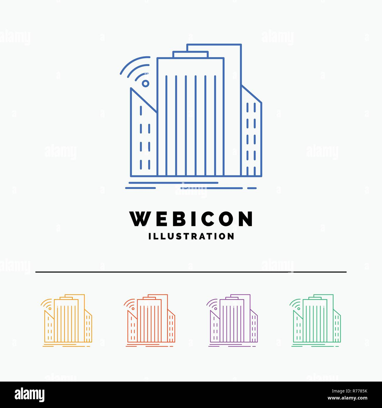 Buildings, city, sensor, smart, urban 5 Color Line Web Icon Template isolated on white. Vector illustration - Stock Vector
