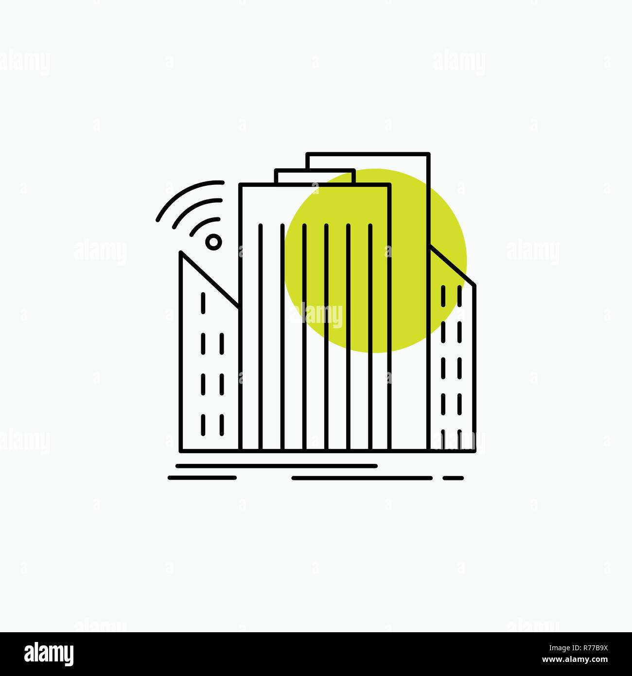 Buildings, city, sensor, smart, urban Line Icon - Stock Vector