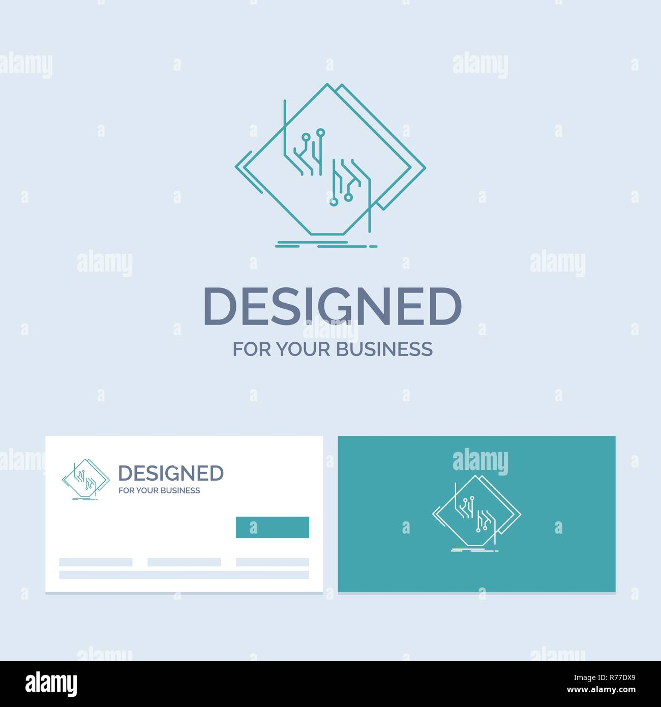 Board, chip, circuit, network, electronic Business Logo Line Icon Symbol for your business. Turquoise Business Cards with Brand logo template - Stock Image