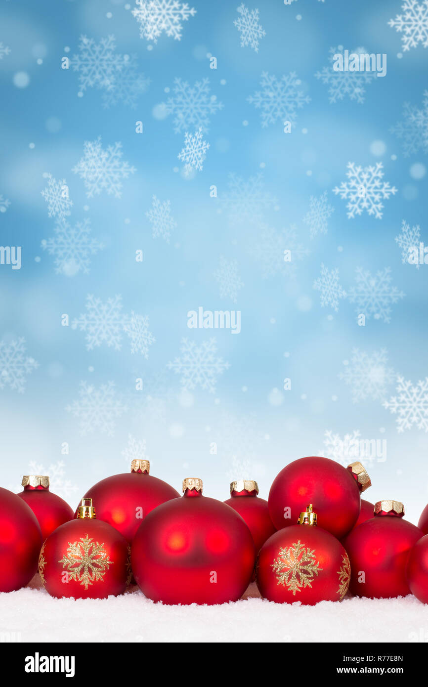 Christmas Background Portrait.Many Red Christmas Balls Baubles Background Decoration