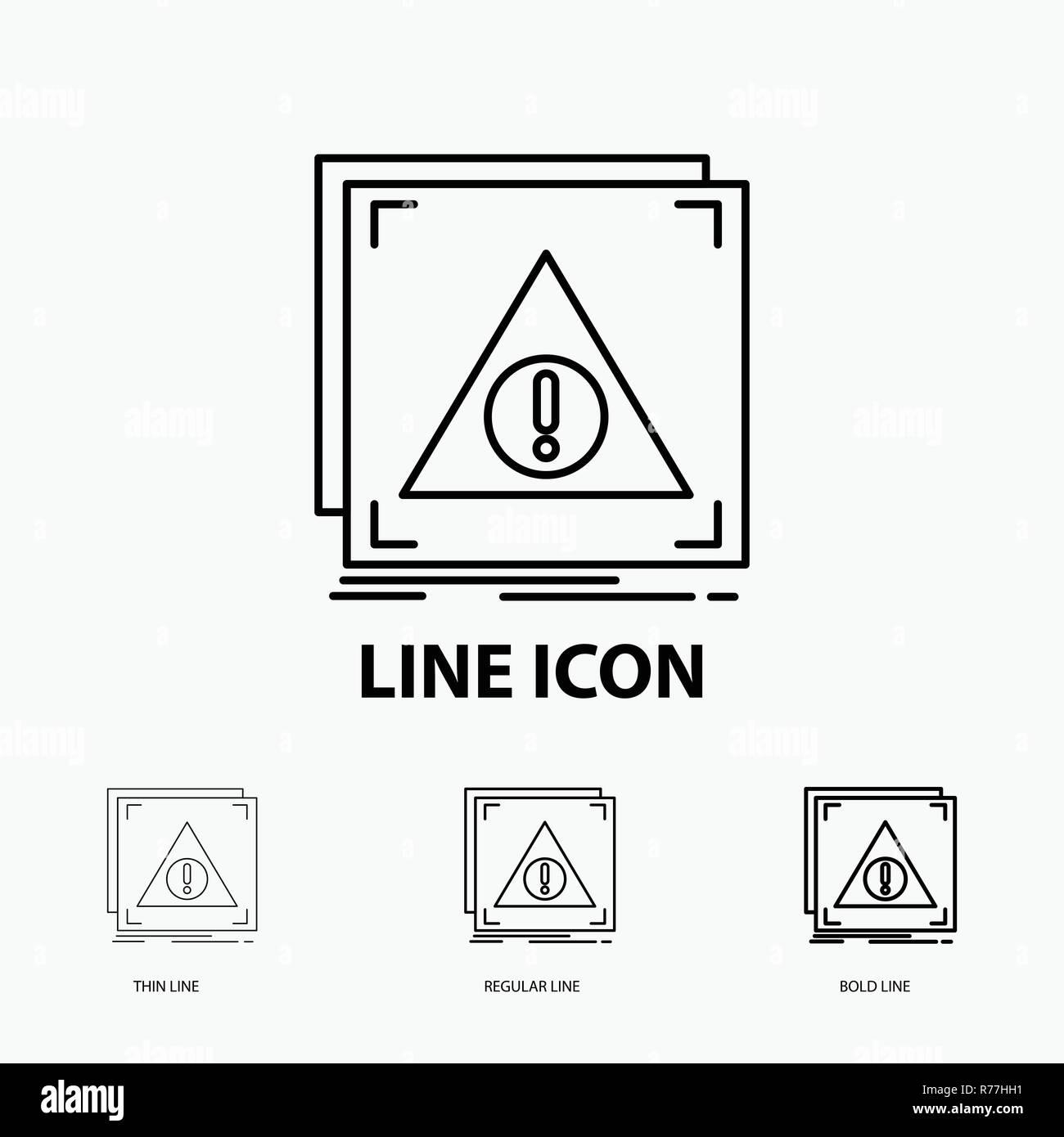 Error, Application, Denied, server, alert Icon in Thin, Regular and Bold Line Style. Vector illustration - Stock Image