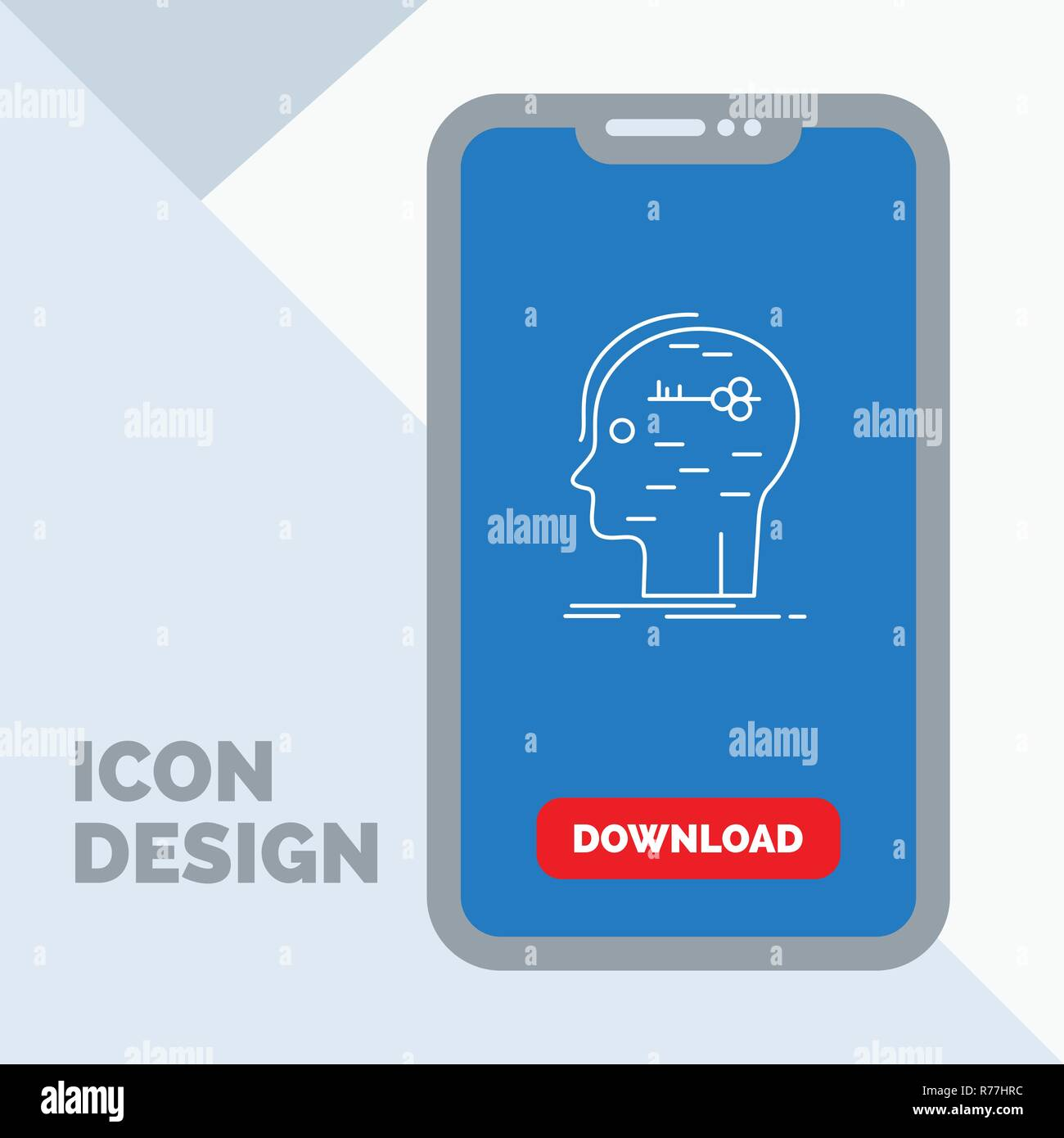brain, hack, hacking, key, mind Line Icon in Mobile for