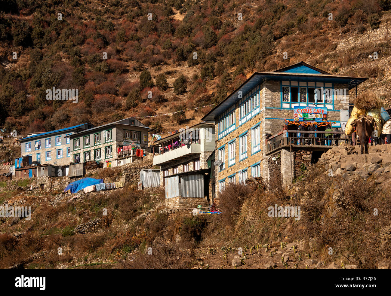 Nepal, Namche Bazar, Cyrus Café and first buildings at southern edge of Namche Baxaar - Stock Image