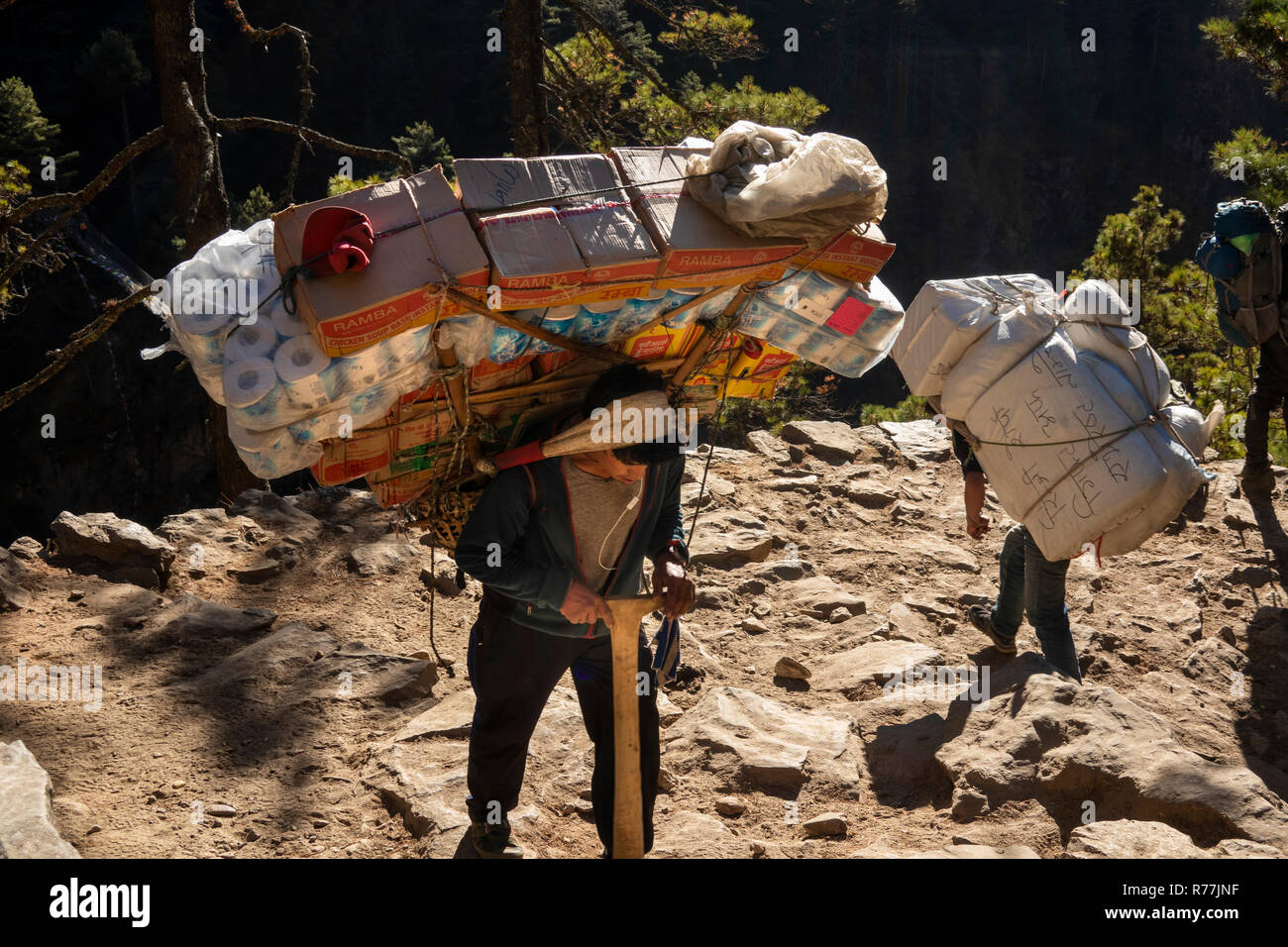 Nepal, Namche Bazar, heavily laden porter carrying goods up to Namche - Stock Image