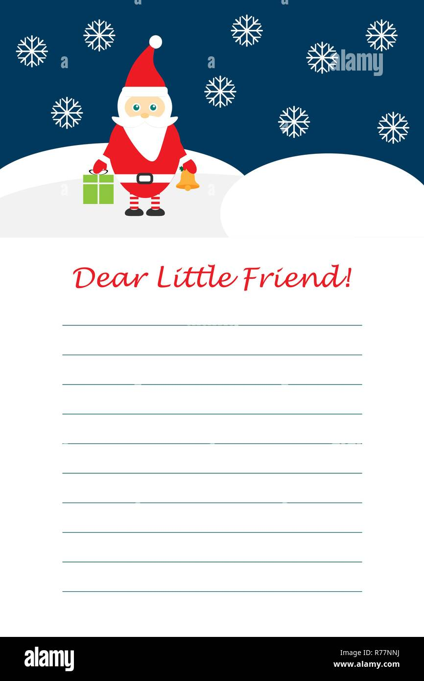 Christmas Letter From Santa Claus For Children Template Layot Fun Preschool Activity For Kids Vector Stock Vector Image Art Alamy