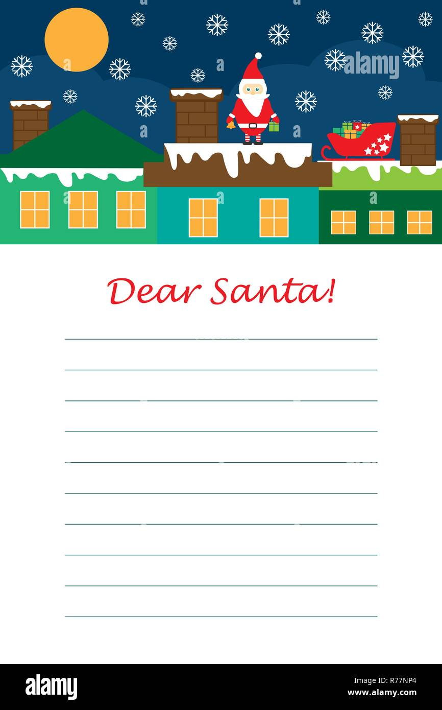 Christmas Letter To Santa Claus For Children Template Layot