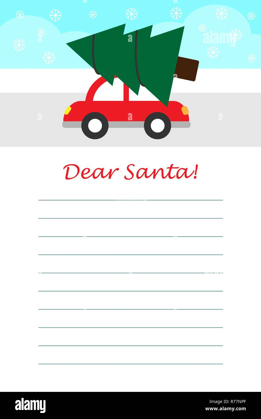 Christmas Letter To Santa Claus For Children Template Layot Fun Preschool Activity Kids Vector