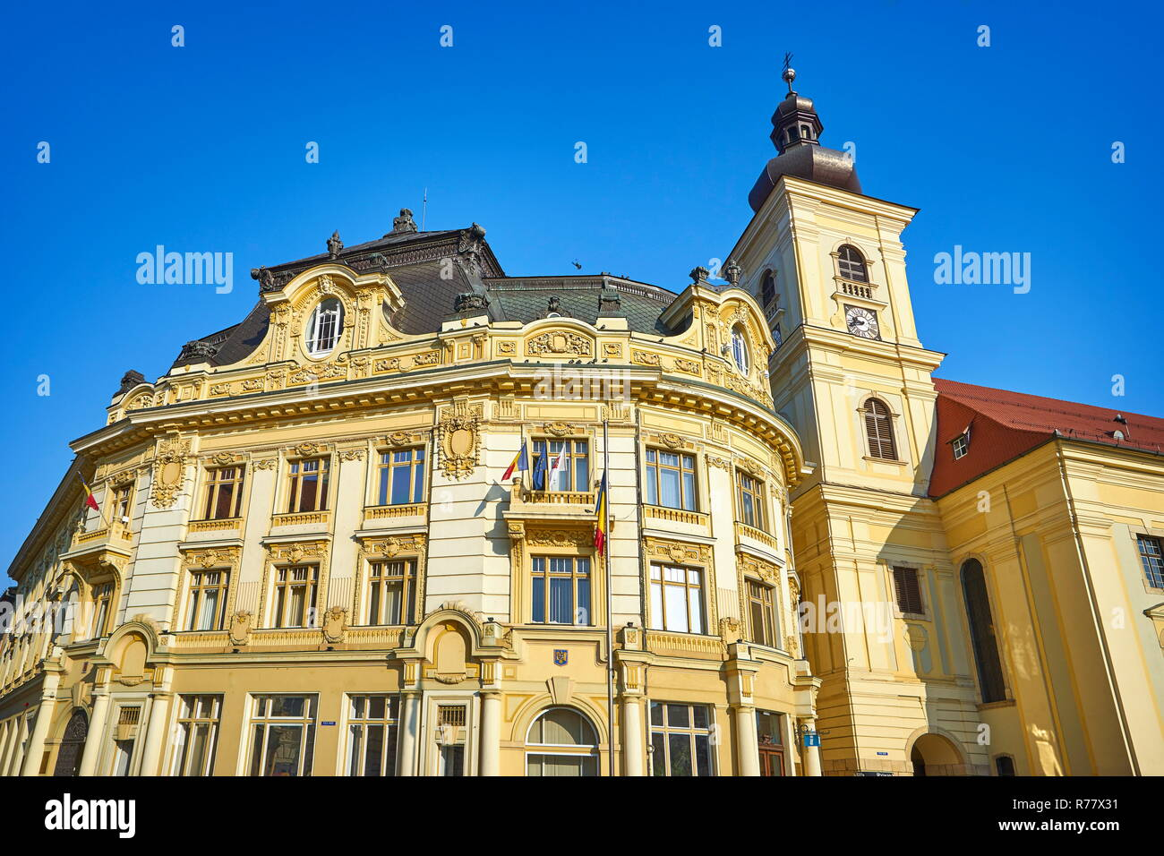City Hall in Large Square, Sibiu, Transylvania, Romania. - Stock Image