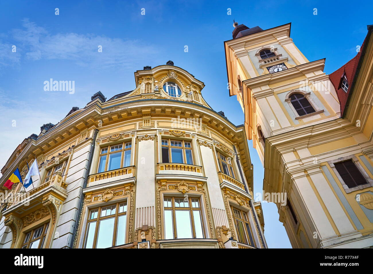 City Hall in Large Square, Sibiu, Transylvania, Romania - Stock Image