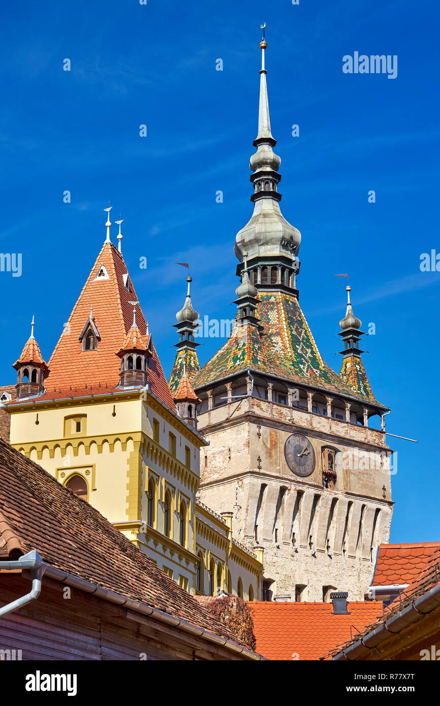 Clock Tower, Sighisoara old town, Transylvania, Romania - Stock Image