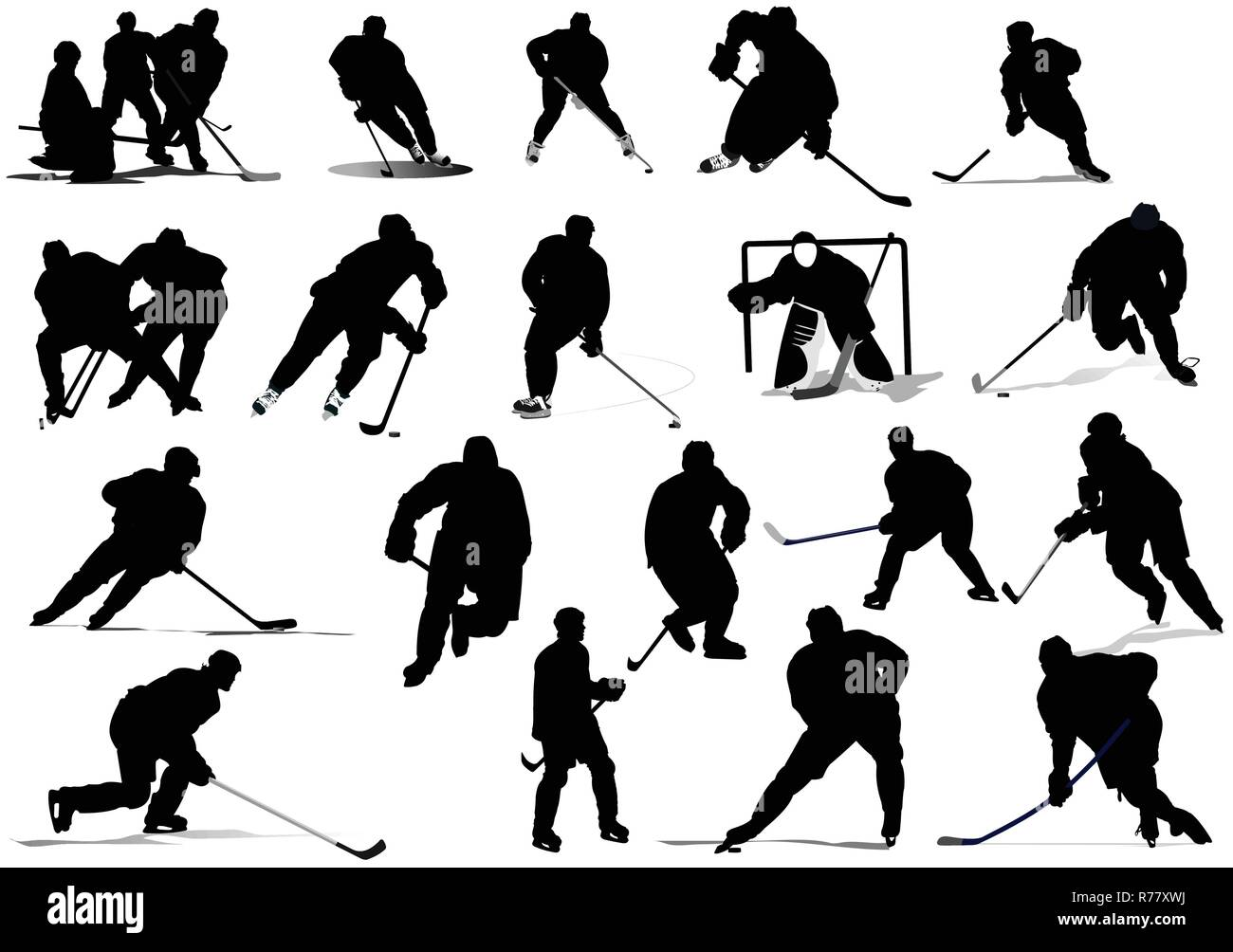 Ice hockey players. Colored Vector illustration for designers - Stock Vector