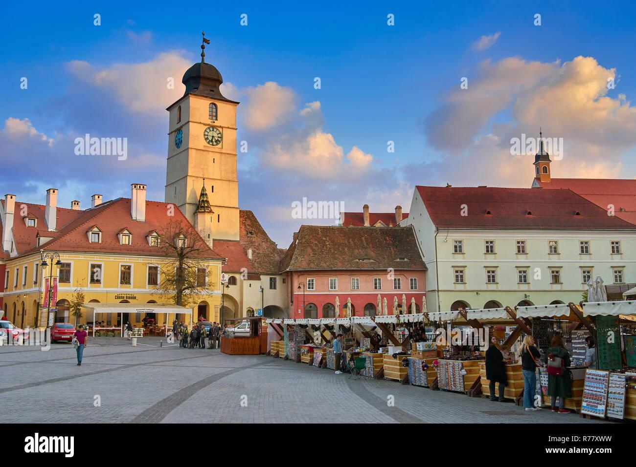 Sibiu old town, Transylvania, Romania Stock Photo