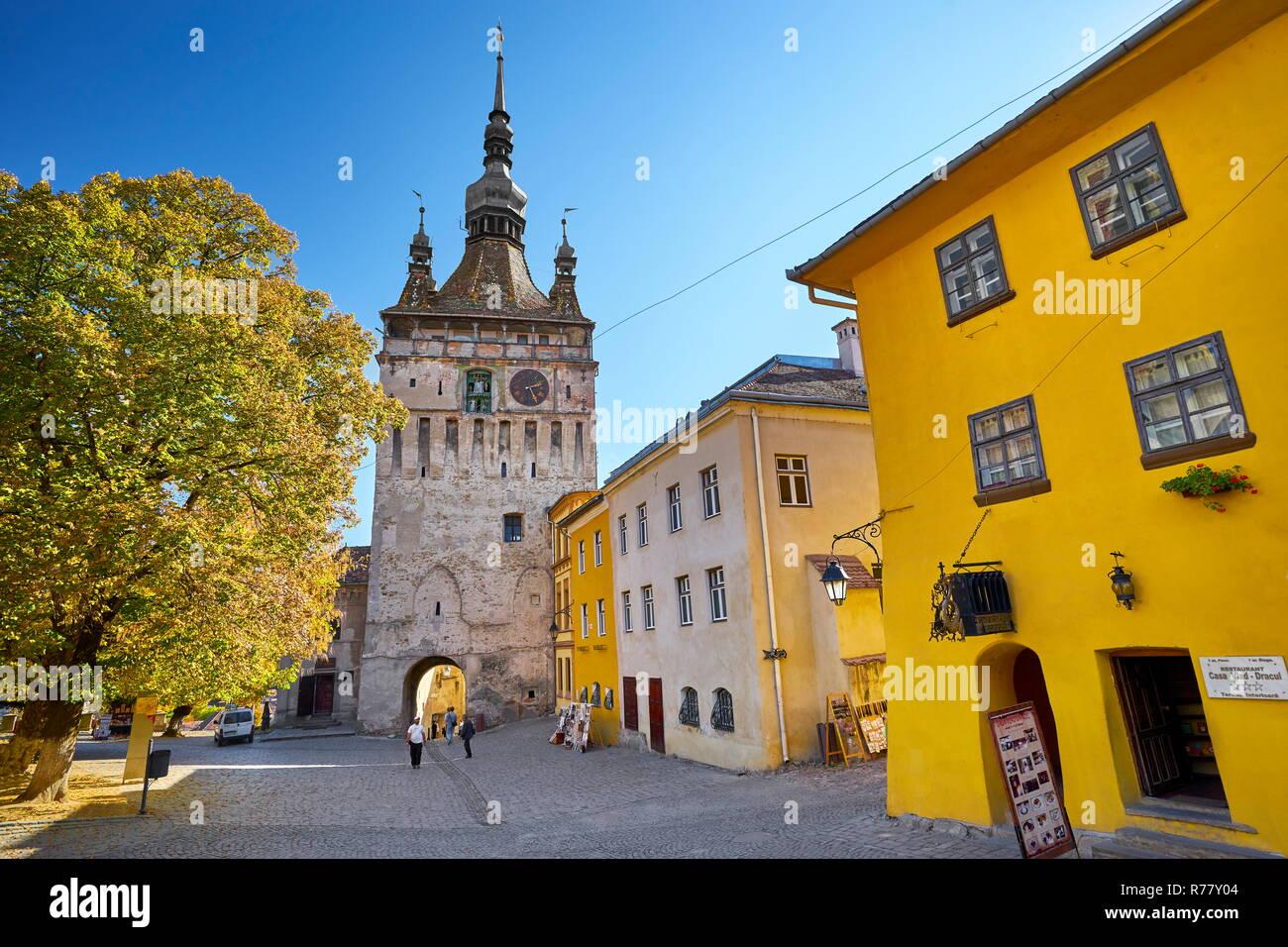 Clock Tower, Sighisoara old town, Transylvania, Romania, UNESCO Stock Photo