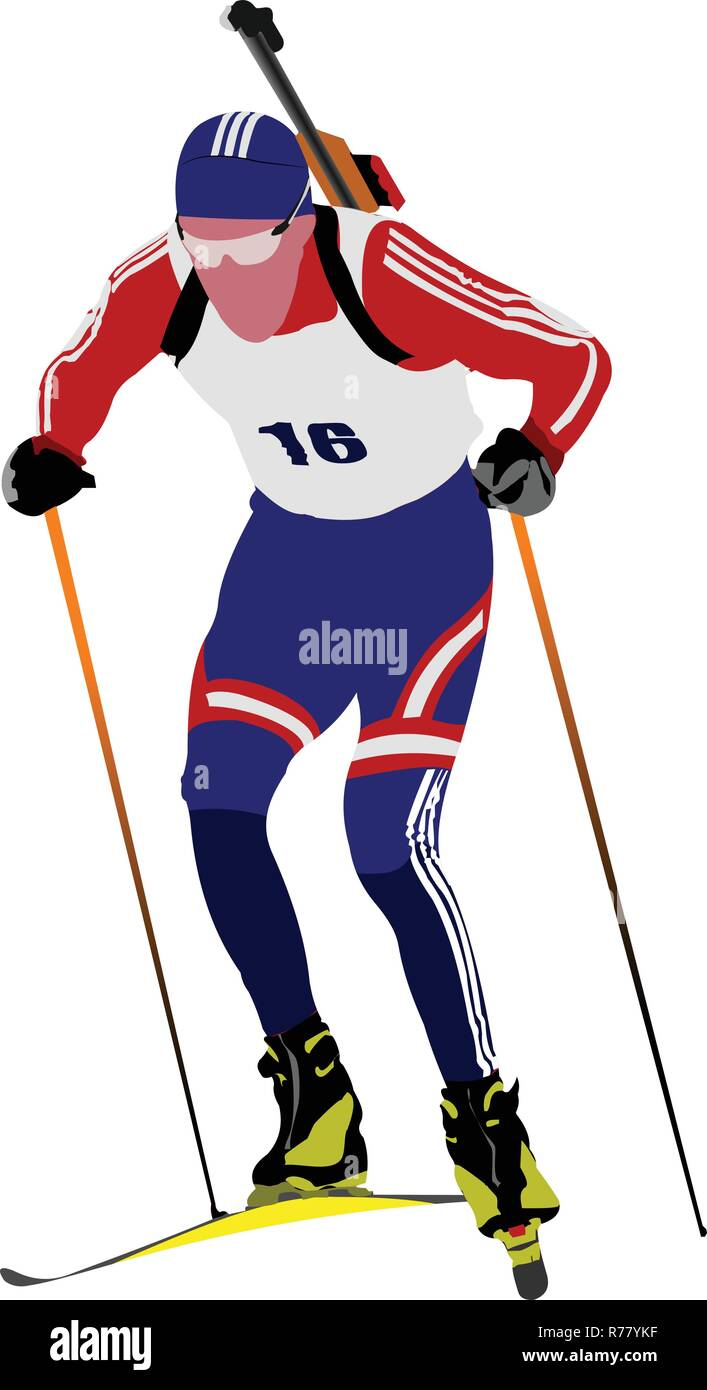 Biathlon runner colored silhouettes. Vector illustration - Stock Vector