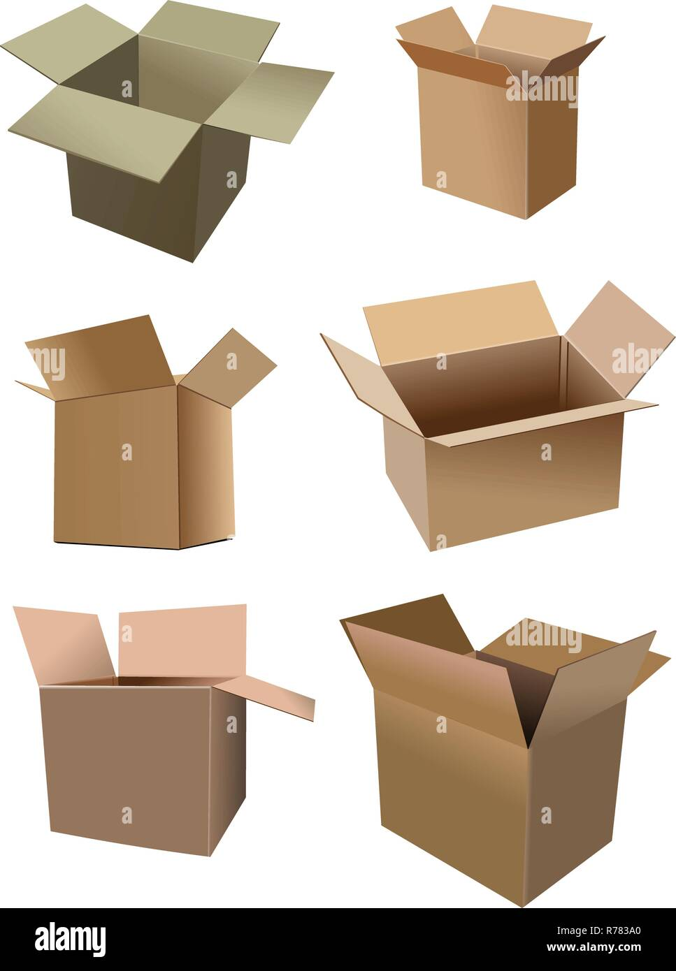 Set of carton boxes isolated over a white background. vector illustration - Stock Vector