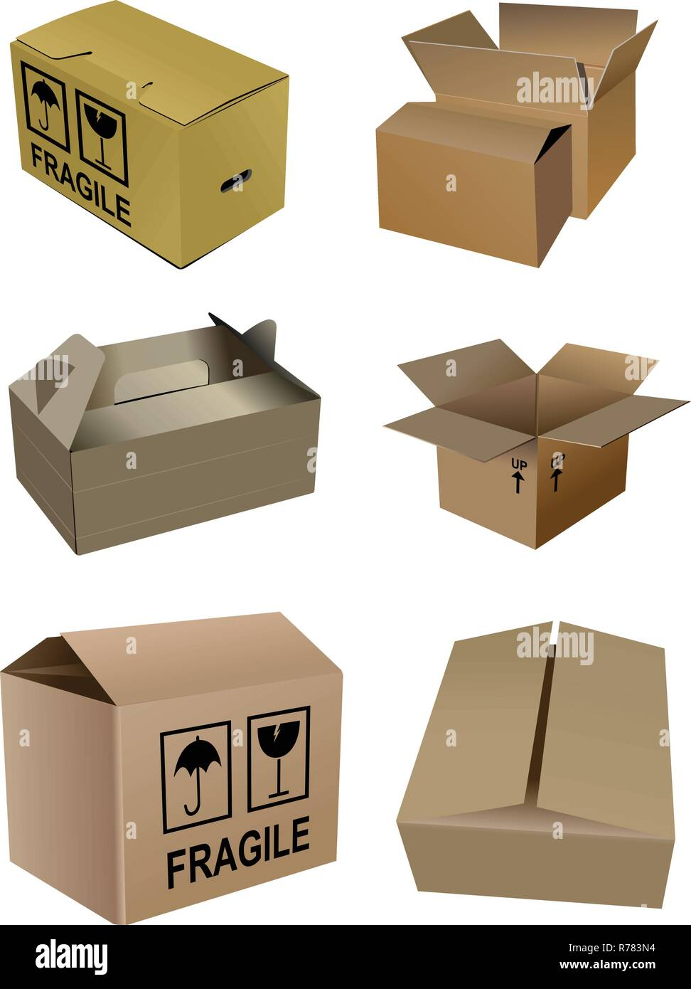 Set of carton boxes isolated over a white background - Stock Vector