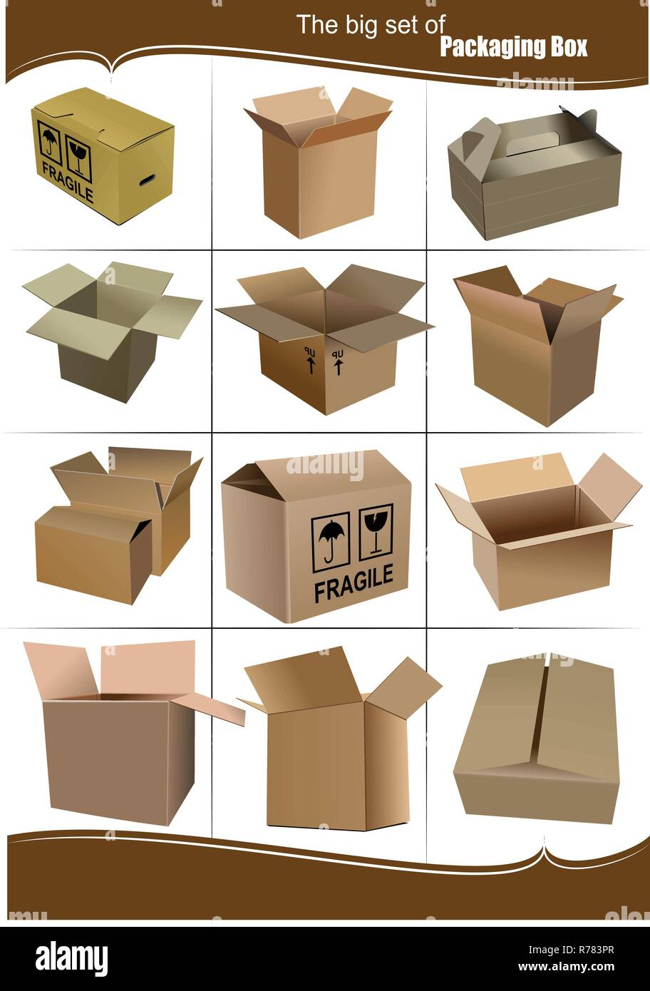 Big Set of carton packaging boxes isolated over a white background - Stock Vector