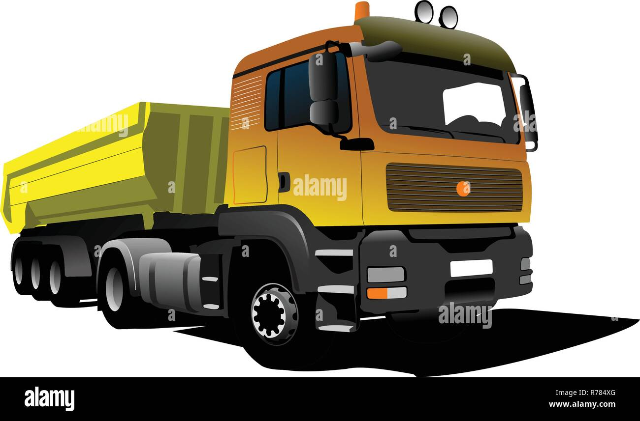 Yellow truck on the road. Vector illustration - Stock Vector